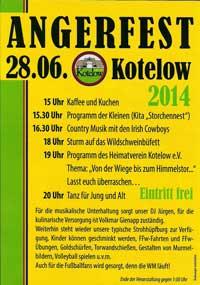 Handzettel Angerfest 2014 in Kotelow