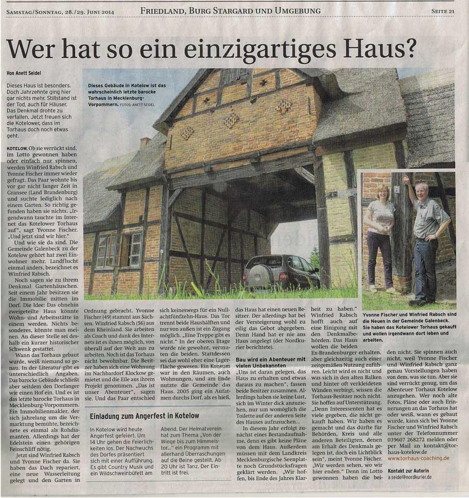 Artikel Nordkurier über das Torhaus Kotelow